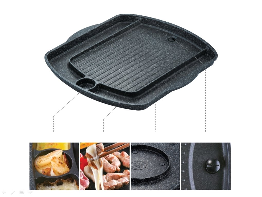 Korean BBQ Grill Pan, Square Roast Pan, Non-Stick Coated Pan(Exterior/Interior) by Kitchen Flower (Image #3)