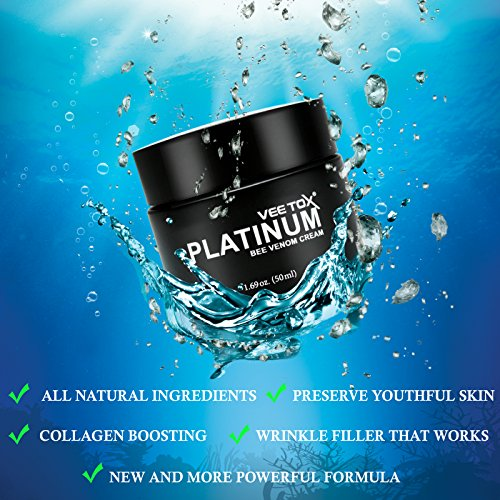 RENOVE VEE TOX PLATINUM- Ultimate Anti-Aging Cream w/Manuka Honey, Bee Venom, Microalgae, Wine Extract, Fills Wrinkles, and Plumps Up Skin for Smooth and Youthful Skin_50ml