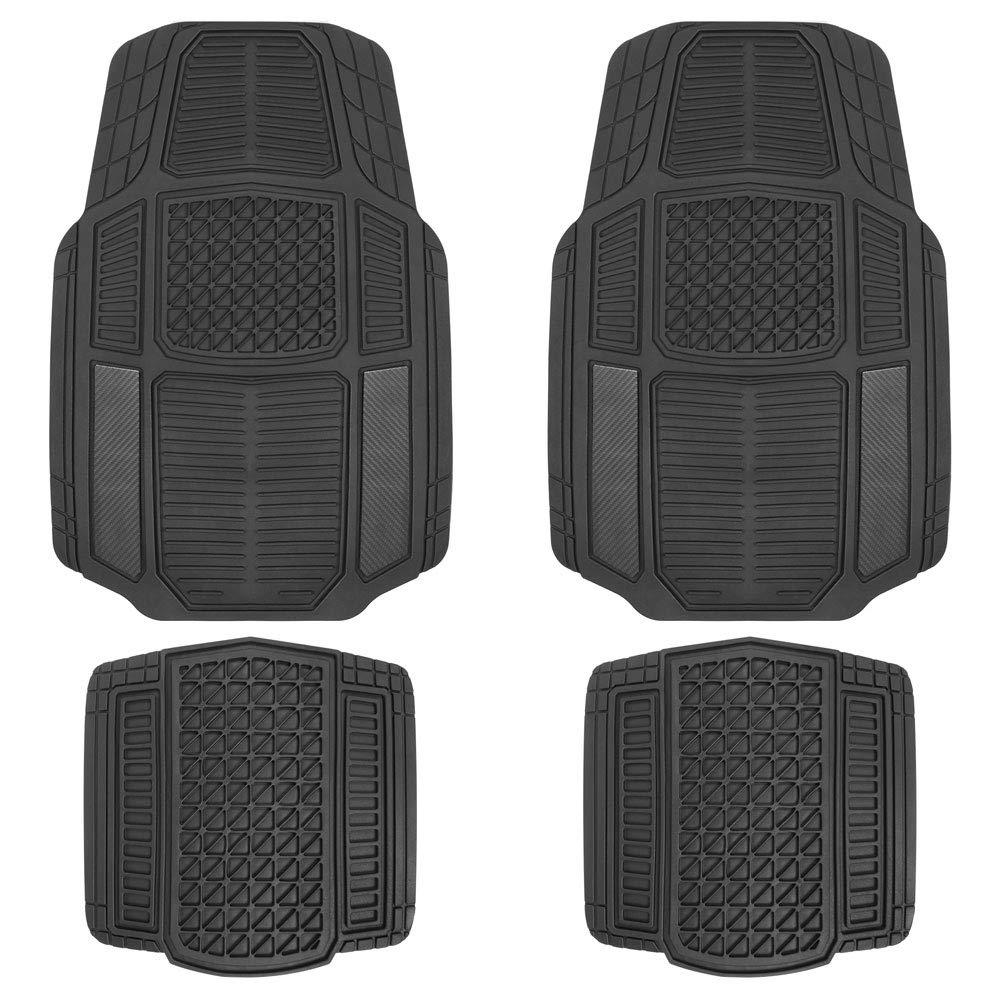 Motor Trend MT824 Carbon Fiber RuggedEarth Car Rubber Floor Mats for Auto Sedan Truck SUV Van - All Weather Deep-Cut Catch-All Liners