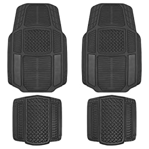Motor Trend MT824 Carbon Fiber RuggedEarth Car Rubber Floor Mats for Auto Sedan Truck SUV Van - All Weather Deep-Cut Catch-All Liners