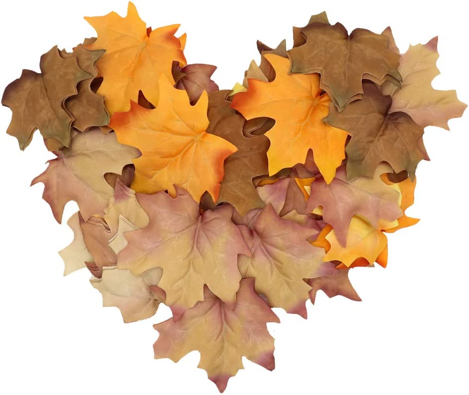 GKONGU Artificial Maple Leaves 48 Pieces, Fake Tree Leaves Autumn Maple Leaves for Indoor and Outdoor Decoration, Idea for Wedding Event Table Decor Fall Leaves