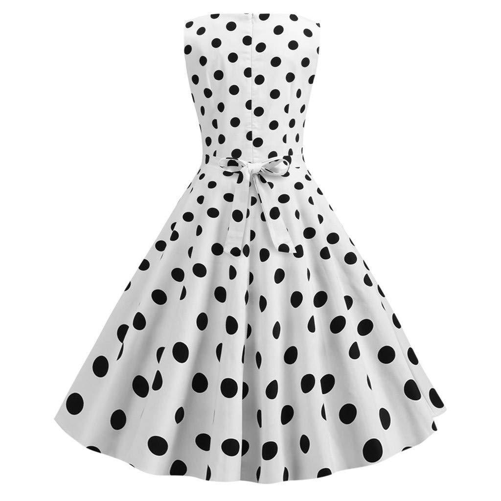 Women Rockabilly Swing Prom Dress 1950s Vintage Dot Print Sleeveless Crew Neck Stretchy Cocktail Evening Party Dress (X-Large, White) by LANTOVI Women Dress (Image #3)