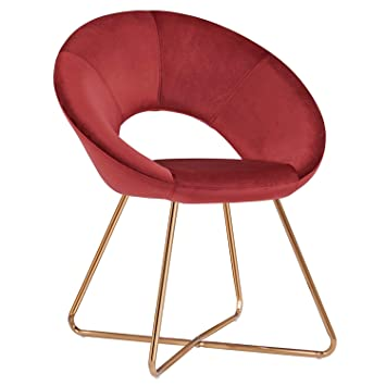 Duhome Silla de Comedor de Tela (Terciopelo) Rojo diseño Retro Silla tapizada Vintage sillón con Patas de Metallo seleccion de Color 439D