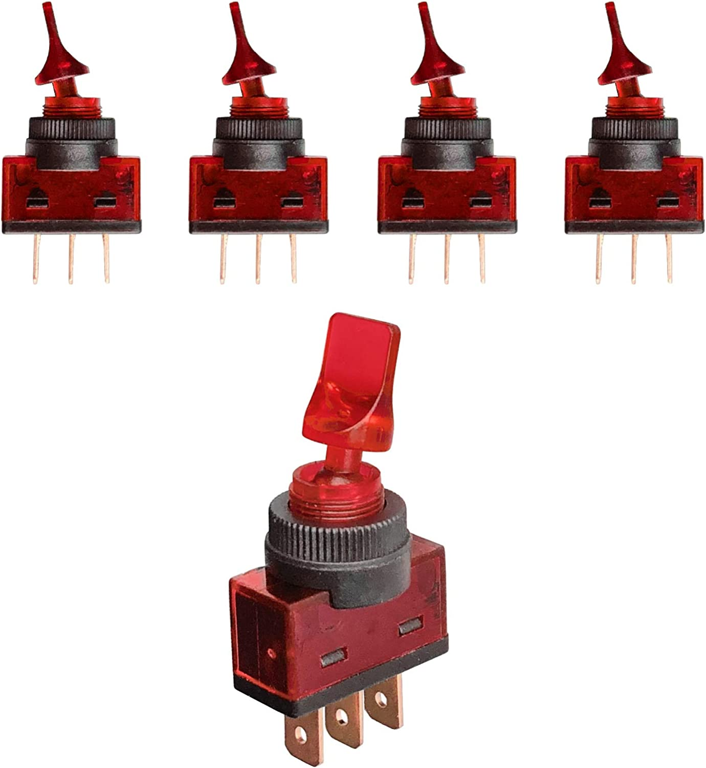 MGI SpeedWare Lighted Duckbill Toggle Switch 12vDC SPST ON-OFF 5-Pack Red