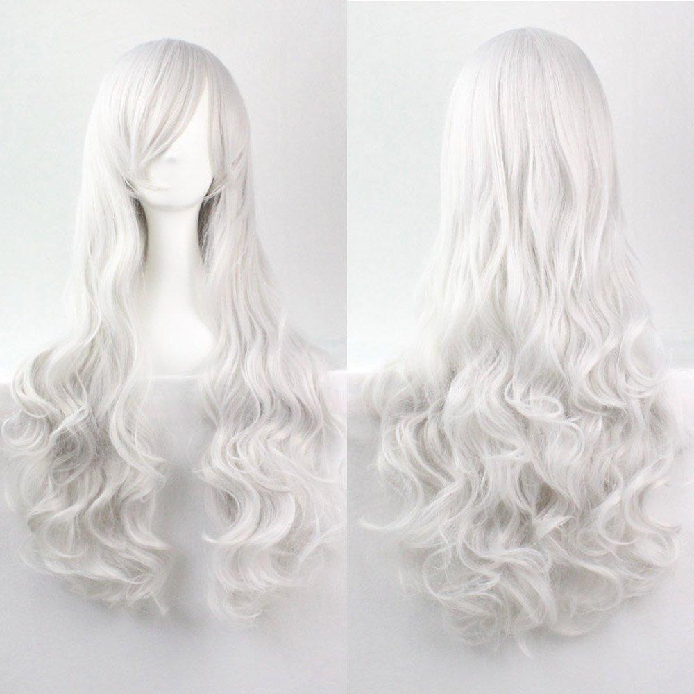 Kissparts 80 cm Peluca cosplay rizada blanca larga atractiva de plata con el casquillo y el