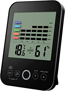 Oritronic Digital Hygrometer Indoor Thermometer Humidity Gauge Temperature Monitor with Alert for Home, Office, Greenhouse, Black