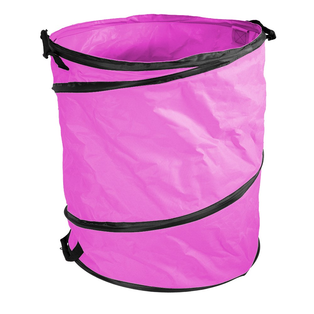Amazing Rake Hot Pink 40 Gallon Heavy Duty Lightweight Popup Collapsible Reusable Lawn Leaf Garden Waste Storage Container Bag