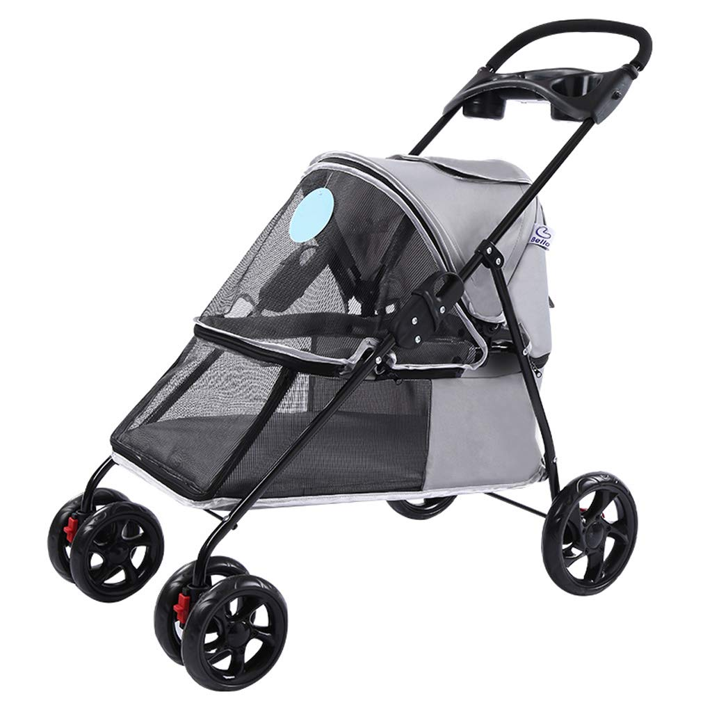 Lightweight Folding Pet Stroller Dog Cat Teddy Small Delicate Four-Wheeled Outdoor Travel Supplies