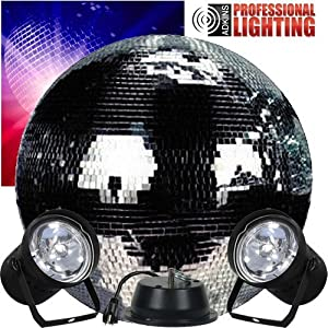 """20"""" Mirror Ball Complete Party Kit with 2 Pinspots and Motor - Adkins Professional Lighting from Adkins Professional lighting"""