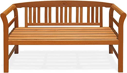 Deuba Banco de jardín Rose de Madera de Eucalipto de 3 plazas 158x43x82cm muebles para terraza balcón patio exterior: Amazon.es: Jardín