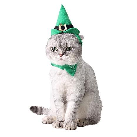 PEDOMUS Disfraz de Gato Elfo de Navidad Sombrero Verde y Collar ...