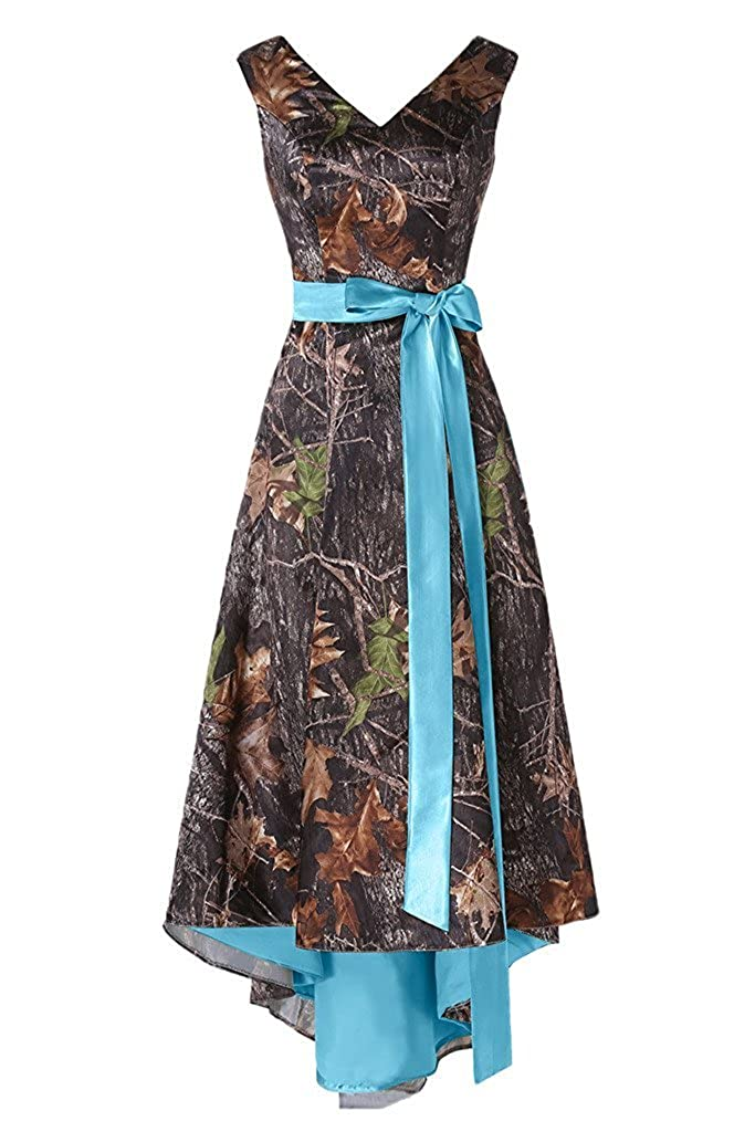bluee PrettyWish Asymmetrical Camo Prom Dress Wedding Party Dress DoubleNeck Sash PW16