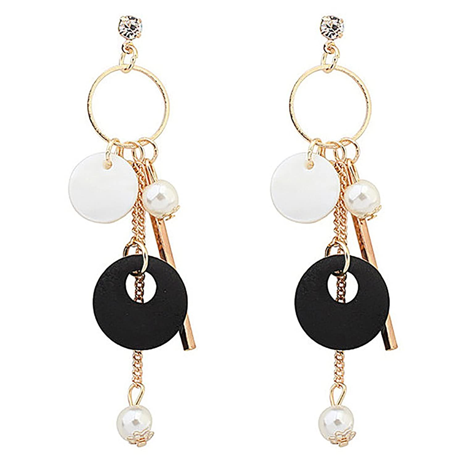 Katie's Style Modern Geometric Simulated Pearl Black and White Resin Bead Statement Drop Dangle Earrings