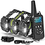 F-color Dog Training Collar, 2600FT Dog Shock Collar for Large Medium Small Dogs Breed, with 4 Modes Light Beep Vibration Shock, Waterproof and Rechargeable Shock Collar for 3 Dogs