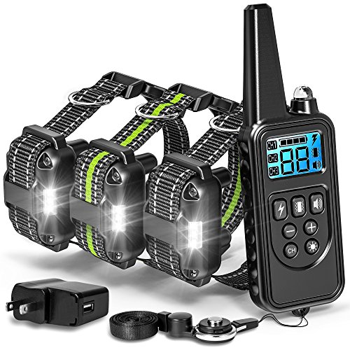 (F-color Dog Training Collar, 2600FT Dog Shock Collar for Large Medium Small Dogs Breed, with 4 Modes Light Beep Vibration Shock, Waterproof and Rechargeable Shock Collar for 3 Dogs)