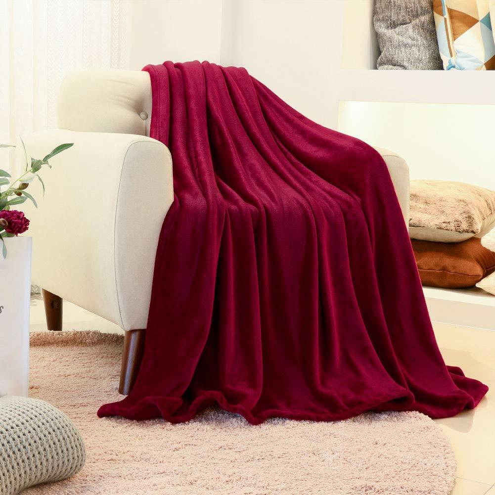 FY FIBER HOUSE Flannel Fleece Luxury Blanket,Lightweight Cozy Microfiber Solid Blanket,60 by 80-Inch,Red by FY FIBER HOUSE