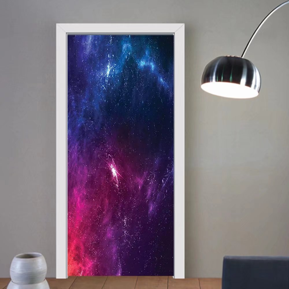 Gzhihine custom made 3d door stickers Outer Space Decor Spiritual Planetary Galaxy Back with Milky Way Stardust Cosmos Concept Blue Purple For Room Decor 30x79