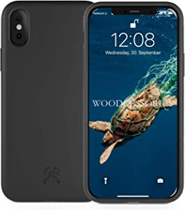 Woodcessories - Phone Case Compatible with iPhone X Case Black, iPhone Xs Case Black - Ecofriendly, Made of Plants
