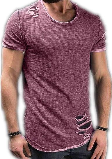 Camiseta de Hombre de Verano con Cuello Redondo, Dobladillo ...