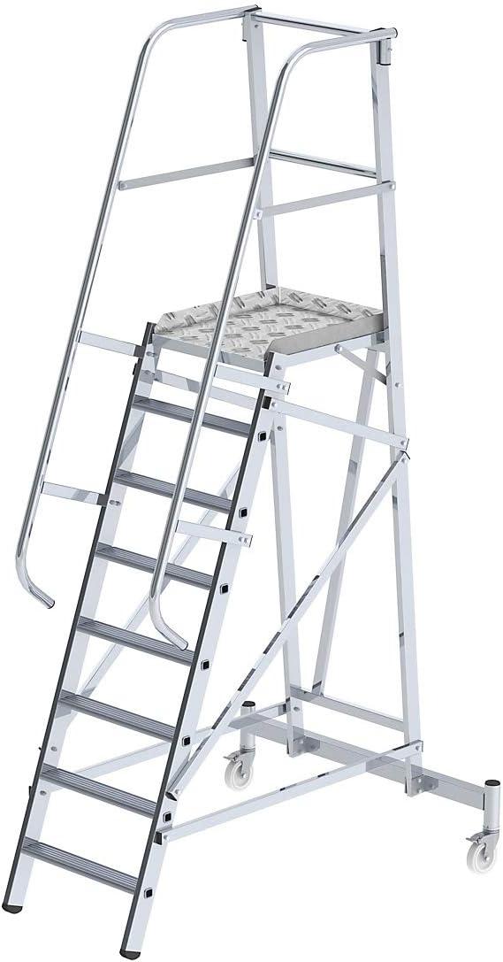 escabeau escabeau /à marches escabeaux escabeaux /à marches marchepied marchepieds plate-forme plate-forme mobiles plates-formes plates-formes 9 marches EUROKRAFT Plate-forme en aluminium mobile