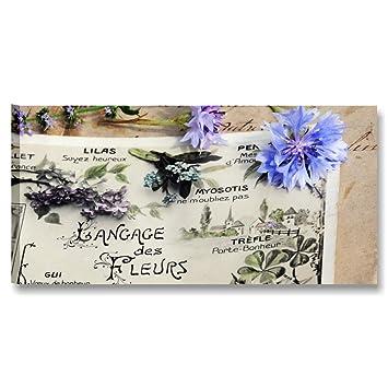 Karo L U0026 C Italien Blumen Vintage 16 U2013 Modernes Bild Auf Leinwand 90 X 45