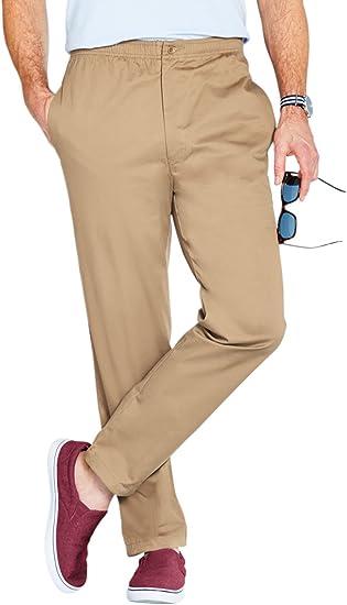 Pantalones Elásticos de Algodón con Cordón para Hombre: Amazon.es ...