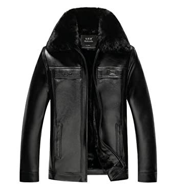 d8508ed90 Tymhgt Men's Winter Vintage Thicken Faux Leather Bomber Coat Faux ...