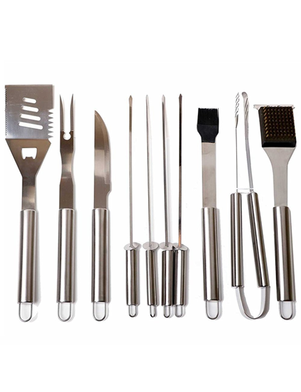 Menschwear BBQ Tool Sets Heavy Duty Stainless Steel Barbecue Accessories Aluminum Case Grill Tools Set (10-Piece) 4 Professional grilling set: grill shovel*1 , fork*1 , knife*1 , tongs*1 , silicone basting brush*1 , grill cleaning brush*1 , skewers*4 . Shovel has a razor sharp serrated edge on one side for easy cutting of meat, a meat tenderizer on the other side, and a built-in bottle opener. Durable and easy to clean: All stainless steel, this 10-piece grill set won¡¯t chip, tarnish or rust. Stylish and safe: Extended stainless handles add elegance and keep your hands away from the flames.