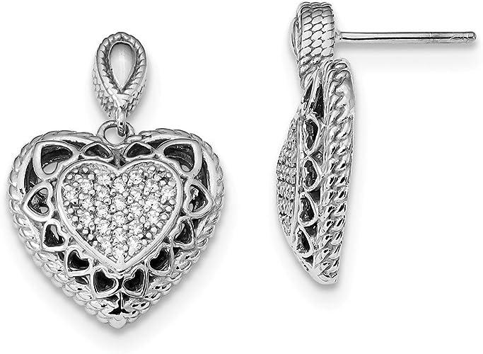 925 Sterling Silver Cubic Zirconia CZ Heart Womens Stud Earrings