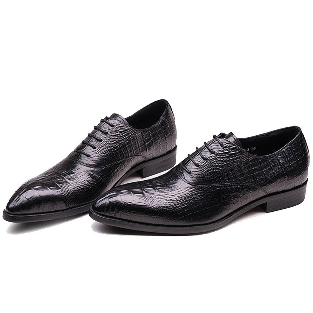 GAOLIXIA Zapatos de Negocios Formales de Cuero Genuino de los Hombres Zapatos de Trabajo de Punta de Moda Zapatos de Estilista de Pelo Casual Fiesta de Noche de Gran Tamaño 43|Negro
