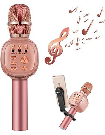 Beschoi Micrófono Inalámbrico Karaoke Bluetooth con Altavoz Incorporado y LED Luz de Color y Soporte para