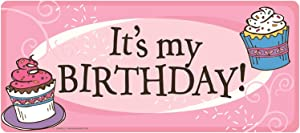 Car Magnet It's My Birthday Pink Cupcake Banner Magnetic Decal for Locker or Fridge,