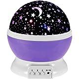 Ecandy 360 proiettore di luce gradi di rotazione 3 modalità Star Romantico Cosmos Stella lampada da letto della luce di notte per bambini, adulti, regali di Natale, amanti con USB / batteria alimentato (Viola)