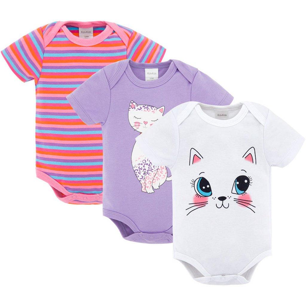 Vine Baby Mädchen Kurzarm-Body 3er Pack Babybody Baumwolle Strampler Sommer Spieler für 0-12 Monate C170505TZ002V