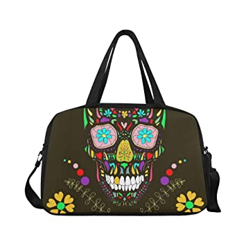 e47b3d2d057 Amazon.com   Skull With Floral Duffel Bag Travel Tote Bag Handbag Crossbody  Luggage Weekend Bag Overnight Bag   Travel Duffels
