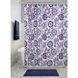 Dark Purple Shower Curtain InterDesign Luna Floral Fabric Shower Curtain, 72