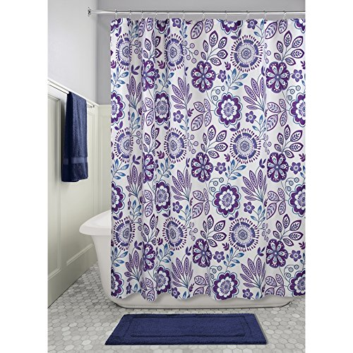 InterDesign Luna Fabric Shower Curtain for Master, Guest, Kids', College Dorm Bathroom, 72