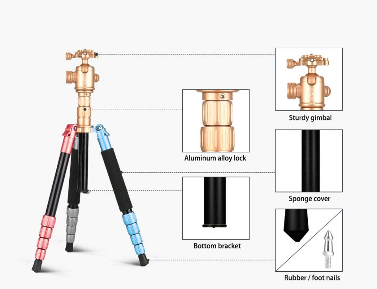 """LLluckyHW Camera Tripod Overhead Tripod Carrying Bag for Travel Quick Release Plate Bubble Level Handycam Camcorder Cameras Up to 22 Pounds 1//4/"""" Quick Release Plate and Carrying Bag Color : Gold"""