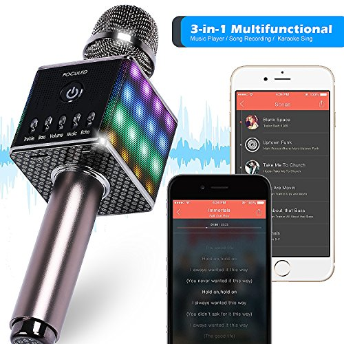 Portable Wireless Bluetooth Karaoke Microphone with LED lights, Built-in HIFI Dual-Speaker 10W and 2600mAH battery capacity, Handheld karaoke Mic Speaker Machine for Home KTV Birthday Party by FOCULED (Image #4)