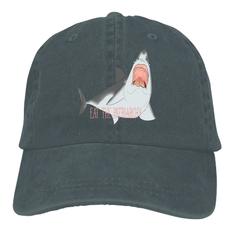 SHUANGRENDE Great White Eat The Patriarchy Plain Adjustable Cowboy Cap Denim Hat for Women and Men