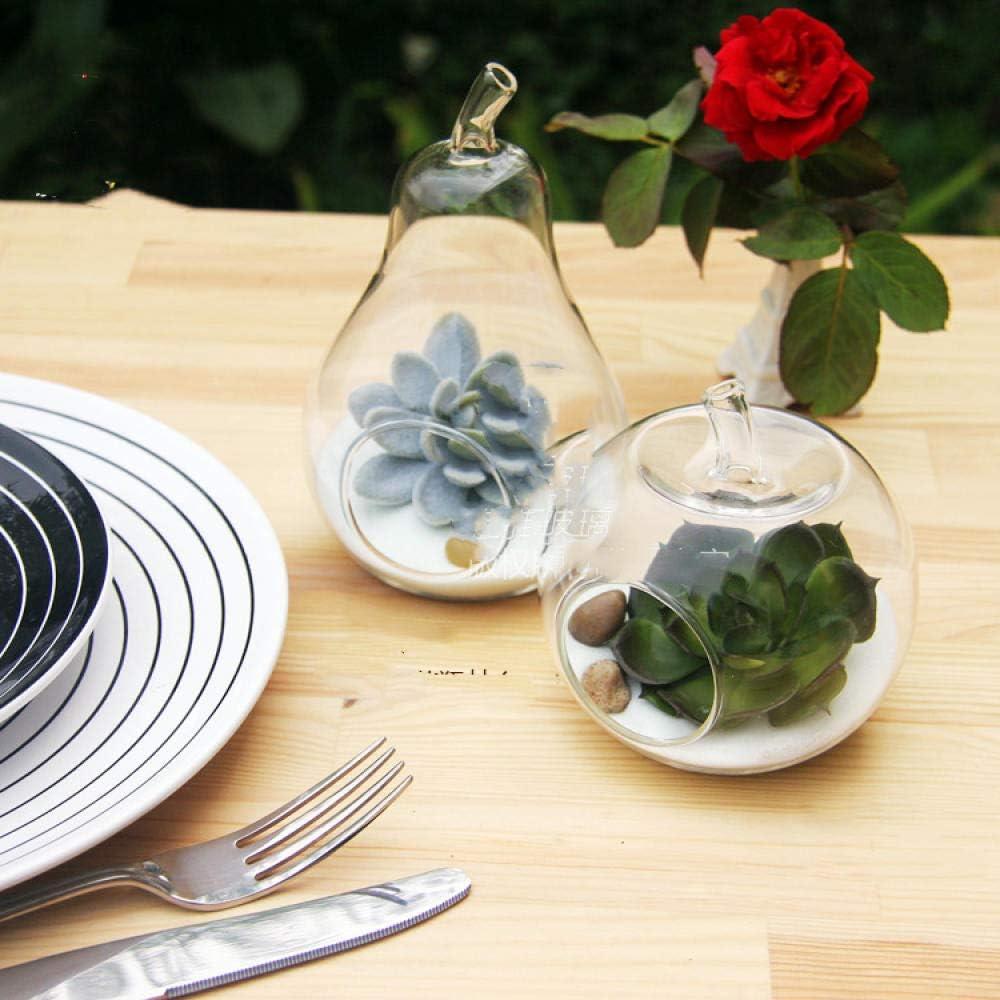 Home Wang Verre Cristal Pomme Cr/éative Poire Terrarium en Verre De Fruits Vases De Table De Mariage D/écoration Soufflerie Pomme Poire Terrarium