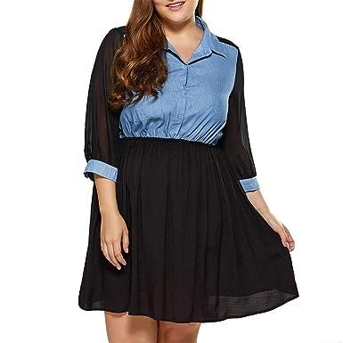 c573c82681ac Damen Lässiges Cowboy-Kleid Resplend Freizeit Lose Minikleid Nähte Plus  Size Top T-Shirt