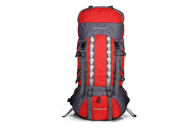 Hiking BackPack コココココ 80L インナーフレーム 軽量 防水 プロ仕様 アウトドアスポーツバックパック レインカバー 男女兼用 バックパック  レッド B07KFDMMCX
