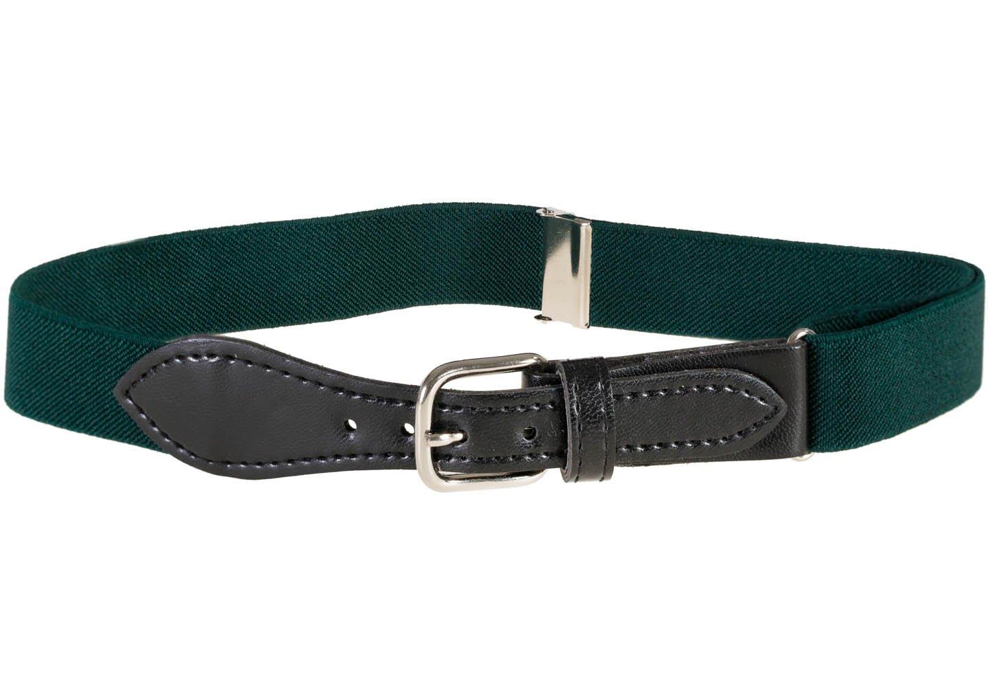Kids Elastic Adjustable Belt with Leather Closure - Hunter Green