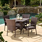 Great Deal Furniture 295832 Kory Outdoor 5pc Multibrown Wicker Square Dining Set