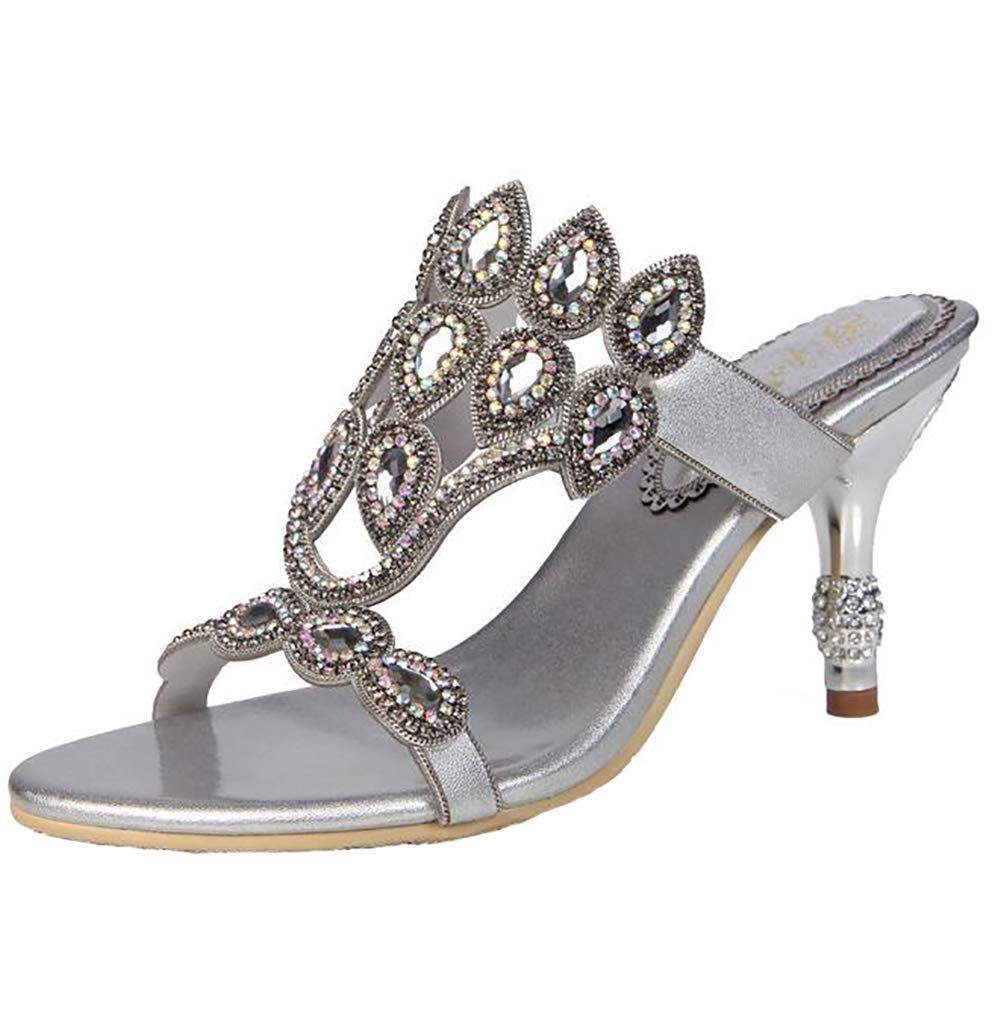 Silver Sandals Women's Glitter Summer Open Elegant Comfort Breathable Outdoor Thickness Sole shoes