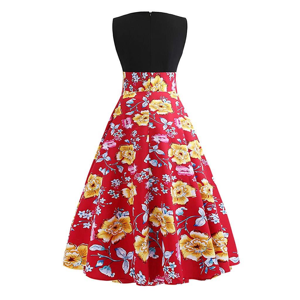 Usstore  Women Maxi Dress Festive Floral Print Elegant O-Neck Sleeveless High Waist Evening Party Prom Swing A-Line Dress