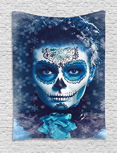 Ambesonne Sugar Skull Tapestry, Santa Muerte Concept Winter Season Ice Cold Snowflakes Frozen Dead Folkloric, Wall Hanging for Bedroom Living Room Dorm Decor, 40