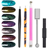 WOKOTO 5Pcs Nail Art Magnetic Pen Set For Cat Eyes Double-Headed Magnetic Stick For Uv Gel Polish Manicure Nail Art Tools