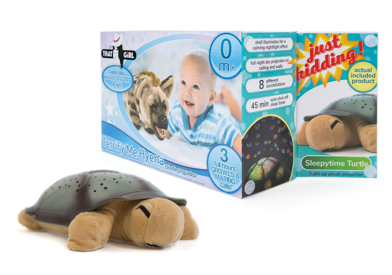 That Girl Gifts Terrify-Me-Hyena Nightlight Turtle Projector & Soother - Green